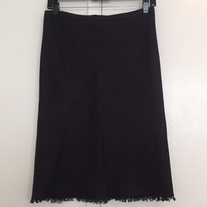 BCBG Maxazria Black Linen Blend Skirt fringe hem 2